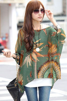 Wholesale 7 Color New Women Chiffon Blouse Top Shirts Loose Size Lady Sheer Batwing Long Sleeve Blouse Shirts R25196 Casual Boho Pattern Blouses