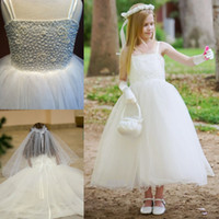 Wholesale Made In China Sweety Flower Girls Dresses Spaghetti Straps Sleeveless Beading Tulle Tea Length A Line Girls Formal Clothes New Popular ZX