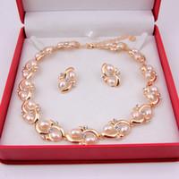 2014 africains indiens de mode cristal collier de perles collier de bijoux 18K plaqué or femmes partie mariée costume de mariage sets de bijoux
