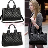 bag women - Women Designed Black Plaid Checker Board Synthetic Leather Shoulder Bags Messenger Bag SV000662