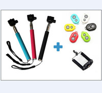 Wholesale 10M Wireless Bluetooth Selfie tool Remote Camera Control Camera Cellphones Extendable Handheld Monopod cellphone holders for all phones