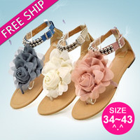 gladiator - Summer Women Gladiator Flats Sandals With Flower New Brand Sexy Ladies Shoes Woman Fashion Female Flip Flops DHLX1001