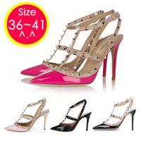 Wholesale Original LOGO Rivets cm Pointed Toe New Shoes sweet Woman Ankle Strap High Heels Sapatos Femininos Women Pumps Sandal DHGG1058