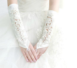 Wholesale 2015 New Arrival White Bridal Gloves Lace Applique Satin Elbow Length Women Formal Party Evening Prom Gloves Wedding Accessories