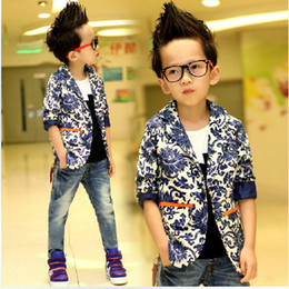 Wholesale 2014 new arrival autumn blue and white porcelain male child jackets baby boy casual blazer outerwear fashionable cardigan years boys