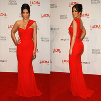 Cheap Fashion kim kardashian Wear Red One Shoulder Chiffon Celebrity Evening Dress Ruched Mermaid Prom Gowns 2015 Sexy Party Formal Gown