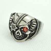 Wholesale RN0749 Halloween silver jewelry gothic gemstone silver Skull ring silver jewelry gothic