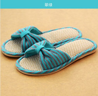 Cheap Wholesale-2014 New summer Slippers linen slippers shoes for men and women couple home indoor floor slippers bottom family slippers