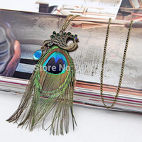 Wholesale Fashion Punk gothic bronze alloy Peacock feathers Long chain charms necklace