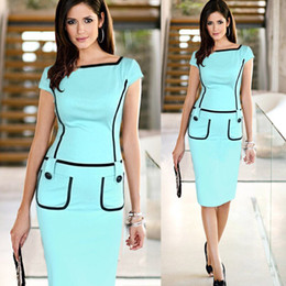 Wholesale 2014 Career Ladies Formal Working Dress Slim Square Neck Patchwork Knee length Party Evening Women Work Bodycon Pencil Dresses OL012