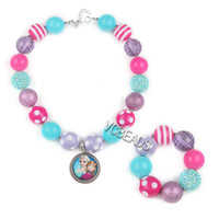 Wholesale 2014 Kids Frozen Fashion Jewelry Sets Chunky Necklace and Beaded Bracelet Frozen Jewelry Sets for Baby Girls Dress Decoration