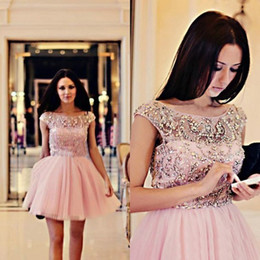Wholesale 2014 Fashion Design Pink Short Homecoming Dresses Cap Sleeve Scoop Neck Crystals Beads Tulle Mini Modern Party Gowns Custom Made H7