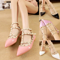 Wholesale Womens Flats Pointed Toe Spike Stud Faux Leather Candy Color Fashion Valentina Cocktail Party Shoes