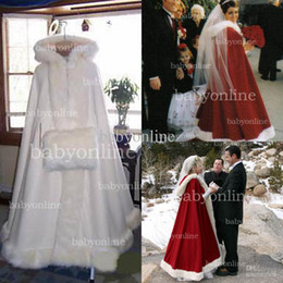 Wholesale 2015 Hot Wedding Cloaks Faux Fur Bridal Cape Ivory Bridal Warps Ankle Length Perfect For Winter Warmer Wedding Red and White Bridal Cloaks