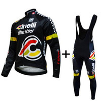 Wholesale Santini Team Cycling Jersey Set Long Sleeve White Shirt and Padded Pants Winter Thermal Bike Suits Anti bacterial Soft Road Bike Clothing