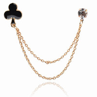 Wholesale 2014 new style Heart Enamel rhinestone Gold Plated Chain CZ Collar Tips Cocktail Brooch Pin Bouquet