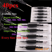Wholesale 40 X Disposable Tattoo Machine Grip Tube quot mm with Suited Needles Assorted RL RS M1