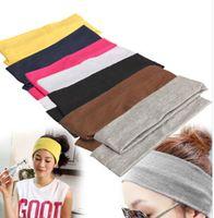 sports ribbon - Elastic Headband Sports Yoga Accessory Dance Biker Wide Headband Stretch Ribbon Black White Grey Cotton Hairband