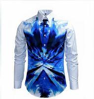 designer mens clothing - New Designer Shirts Men Watercolor Print Luxury Casual Slim Fit Stylish Dress Shirts Long sleeved Mens Shirts Cotton Fashion Clothing