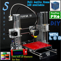 Wholesale Hot Full Acrylic Quality High Precision Reprap Prusa i3 LCD Acquired DIY d Printer Kit with Two Rolls Filament for Free