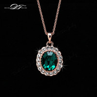 Wholesale DFN247 Emerald Elegant CZ Diamond K Gold Pated Green Crystal Necklaces Pendants Fashion Jewelry For Wonem colares joias