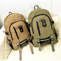 Wholesale S5Q Vintage Men s Canvas Trave Outdoor l Hiking Shoulder Bag Backpack Rucksack AAADUN