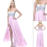 Wholesale Cascades Pink Homecoming Dresses Chiffon Sweetheart Split Beaded Bandage Long Graduation Prom Party Gowns