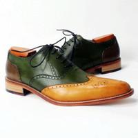 Wholesale men s shoes custom handmade shoes dress shoes genuine calf leather oxford shoes wingtip brogue shoes new arrival HD