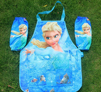 Wholesale 5 sets New Frozen Aprons Sanitary Waterproof aprons Frozen Painting Children Cover Up with sleeves cover