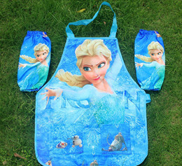 Wholesale 2014 hot selling New Frozen Aprons Sanitary Waterproof aprons Frozen Painting Children Cover Up with sleeves cover