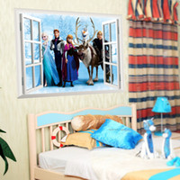 Wholesale FROZEN Elsa Anna PRINCESS D Window View Cartoon Decal WALL STICKER PVC Home Decor X60cm10cs