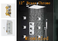 Wholesale Bathroom Thermostatic Valve quot Shower Faucet Mixer Set Brass Chrome with Sprayer Jets with Years Warranty for Christmas new