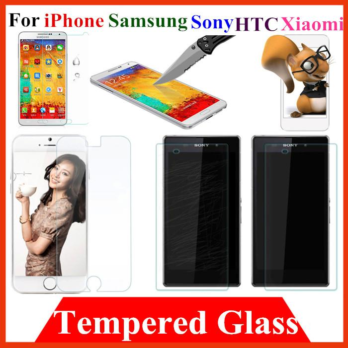 Buy Film Shield Saver Tempered Glass Screen Protector Guard iPhone 4 4S 5 5S 6 Samsung S3 S4 S5 note 2 3 xiaomi M2 Sony Z1 Z2 HTC one M7