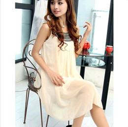 Wholesale Summer Fashion Womens Chiffon Sleeveless Maternity Pregnant Beads Dress Casual DH04