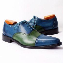 Men Dress shoes Oxfords Shoes Custom handmade shoes Genuine calf leather Color split new arrival HD-216