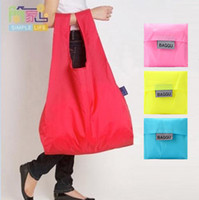Wholesale Square Pocket Shopping Bag Candy colors Available Eco friendly Reusable Folding Handle Polyester Bags a703