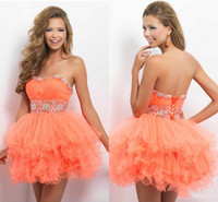 Cheap 2014 New Arrival Corset Homecoming Dresses Ball Gown Organza Beading Strapless Short Prom Dress Backless Sexy Mini Graducation Dresses HW059