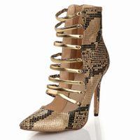 designer sheepskin boots - New Brand Designer Sexy Embossed Serpentine Sheepskin Gold Shoes High Heel Cut Outs Summer Women Boots Botas Femininas Boty