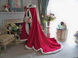 Wholesale Christmas Bridal Wraps Red Ivory Long Satin Bridal Cape Wedding Cloak Beauty and the Beast Semi Royal Train Sheer Fur Handmade Party Warps