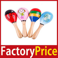 Wholesale FactoryPrice New Hot Wooden Maraca Wood Rattles Kid Musical Party Favor Child Baby Shaker Toy High Quality