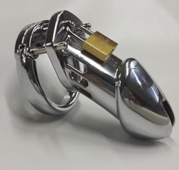 Wholesale Male steel penis cock cage Stainless chastity devices sex toys latest large metal chastity cage cock cage Chrome plated zinc alloy devices