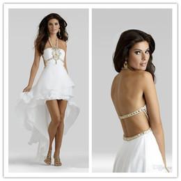 Wholesale So Cheap Sexy Cocktail Dresses Hi Lo Open Back Sleeveless Rhinestone Spaghetti straps Beads White Fashion Homecoming Dresses