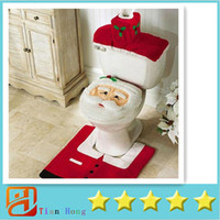 Santa Toilet Seat Cover and Rug Set Christmas Bath Set Chris...
