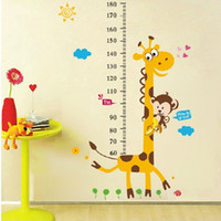 Cheap Wholesale-1Set Large Size 100*180cm Children Growth Chart Wall Sticker & Giraffe Kids Height Measuring Scale