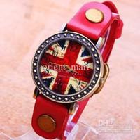 Wholesale 2013 Vintage Korean style Union Jack Dial Red Leather Band Fashion Watches UK Flag Unisex Men Lady Quartz Watches