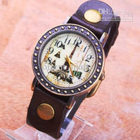 Wholesale Hot Sale Eiffel Tower Watches NEW Colors Quartz Watches Punk Brown Leather Wrist Watches