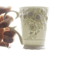 Wholesale Hety puddles cqua coffee cup milk cup ceramic mug white relief cup rose
