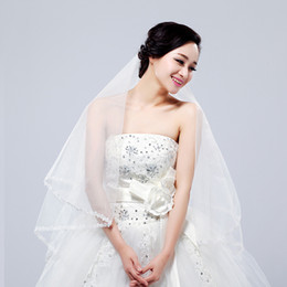 Wholesale One Layer m Hot Sale High Quality Royalty White Net Lace Edge Long Bridal Veil Wedding Accessories Headpiece V15