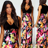 Cheap 2014 New Arrival 1PC Sexy Women Lady V-Neck Holiday Summer Boho Long Maxi Evening Party Dress Free Shipping&Wholesale