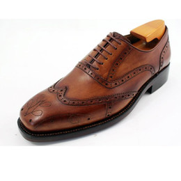 Men Dress shoes Oxfords shoes Custom handmade shoes genuine calf leather oxford shoes paisley color brown HD-J032